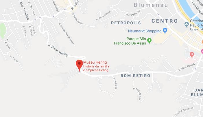Museu Hering em Blumenau: Mapa