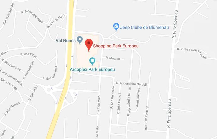 Mapa do Shopping Park Europeu em Blumenau