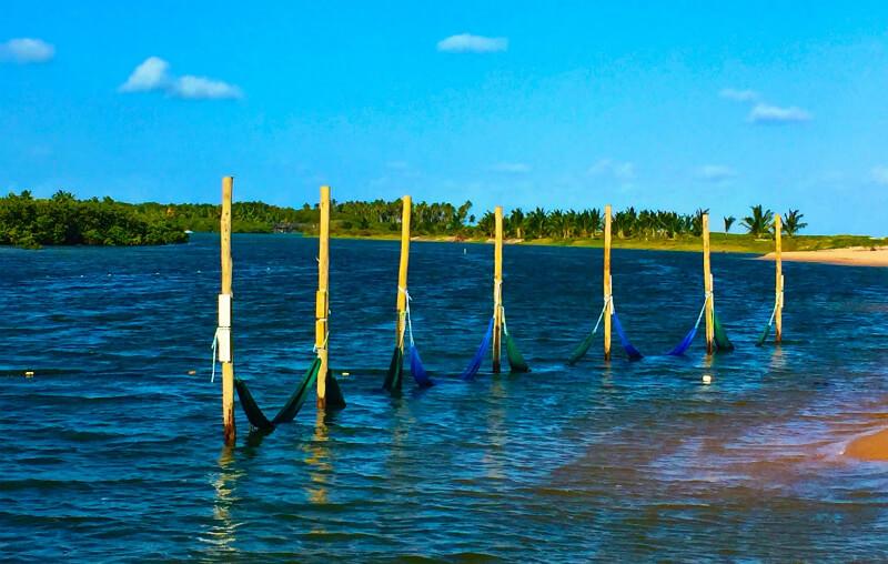 Área de lazer no rio da praia Pratagy em Maceió