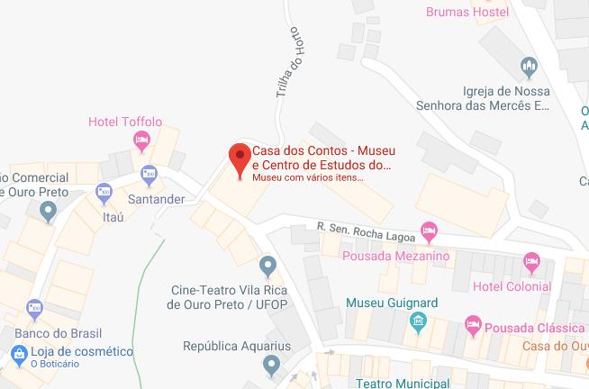 Localização da Casa dos Contos em Ouro Preto