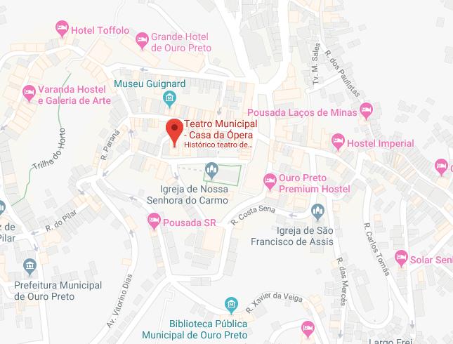 Localização da Casa da Ópera em Ouro Preto
